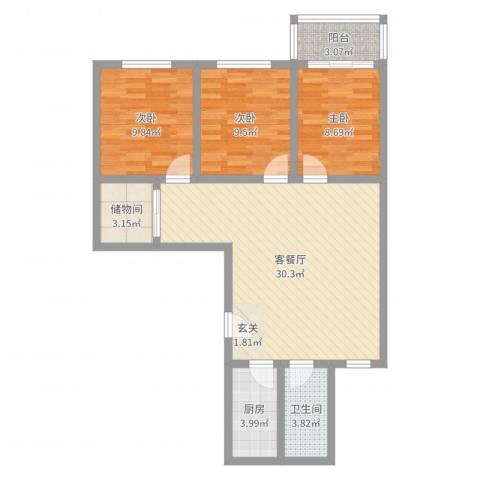 新月明星园3室2厅1卫1厨90.00㎡户型图