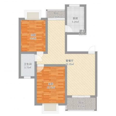 阳光迪金阁2室2厅1卫1厨78.00㎡户型图