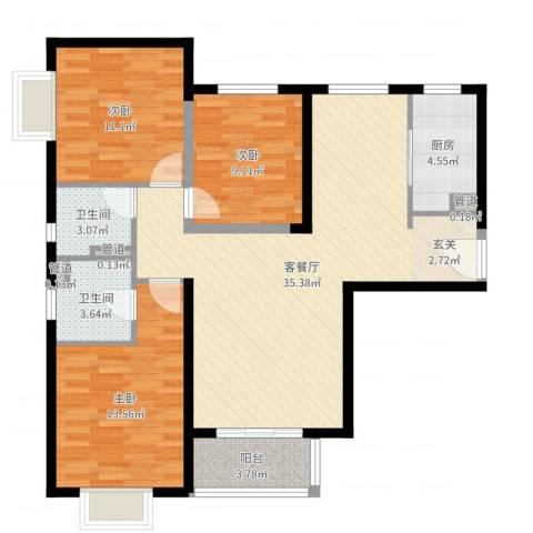 隆兴宜居3室2厅2卫1厨106.00㎡户型图