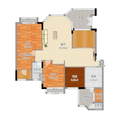 汇景新城柏菲美泉3室1厅2卫1厨170.00㎡户型图