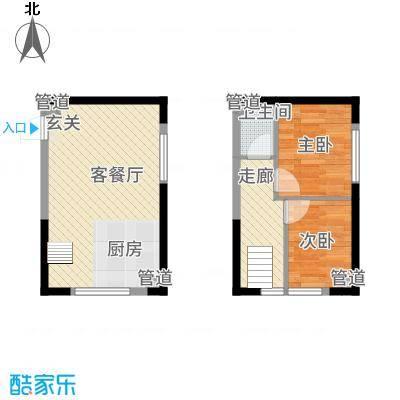 筑石快乐公馆34.40㎡D户型2室1厅1卫1厨