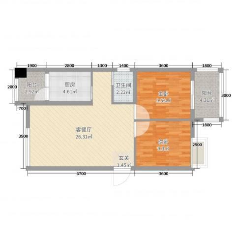 瑞阳首座2室2厅1卫1厨78.00㎡户型图