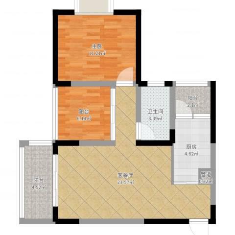泰禾・江山美地1室2厅1卫1厨70.00㎡户型图