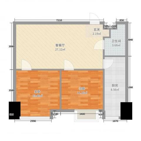 海信・龙奥九号2室2厅1卫1厨80.00㎡户型图