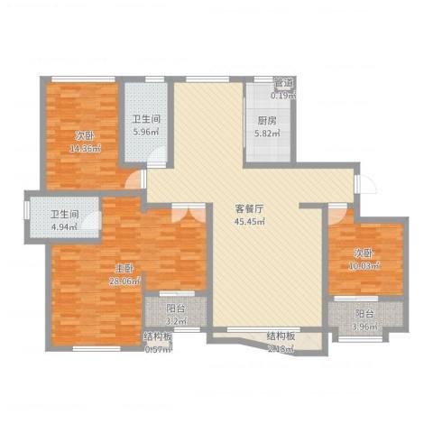 和谐家园3室2厅2卫1厨156.00㎡户型图