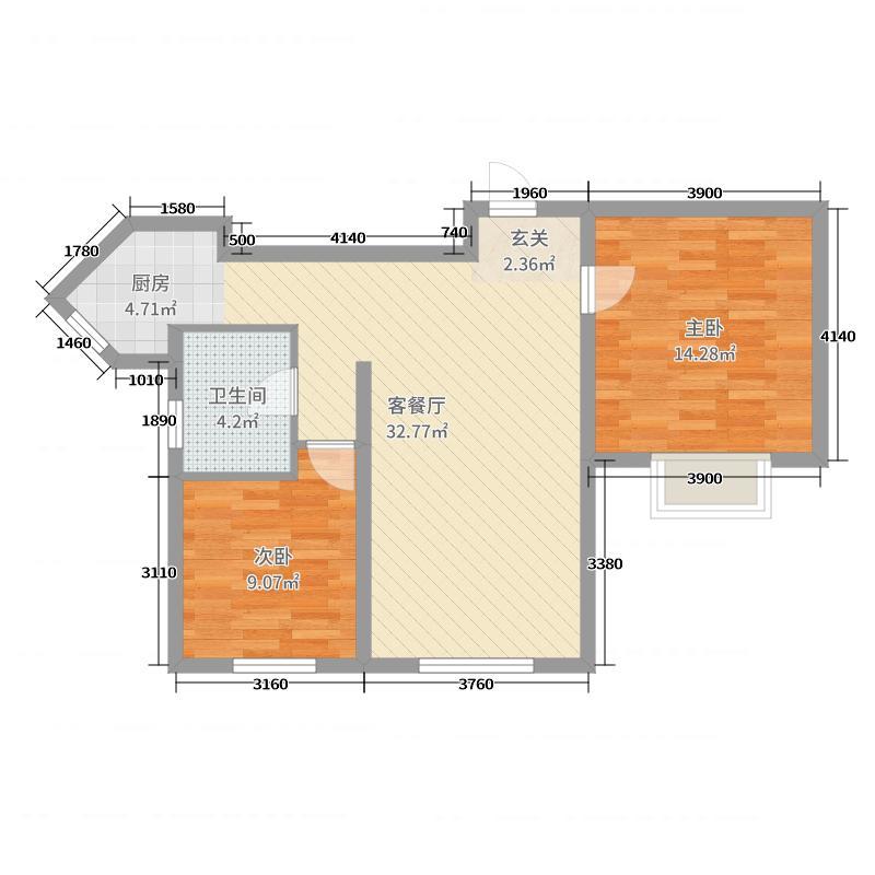 福顺尚景86.31㎡2号楼户型2室2厅1卫