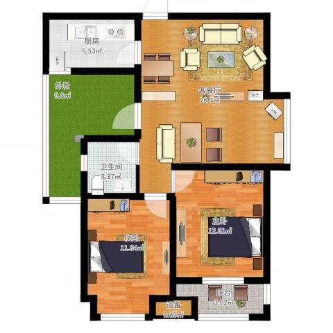 融侨天骏2室2厅1卫1厨106.00㎡户型图
