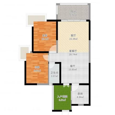 钱隆樽品三期波士堂2室2厅1卫1厨87.00㎡户型图