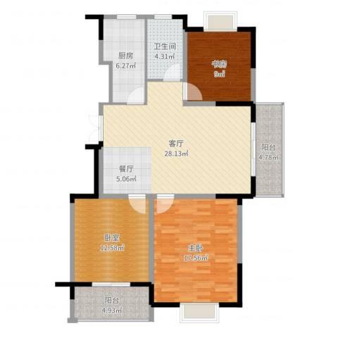 王子公馆2室1厅1卫1厨109.00㎡户型图