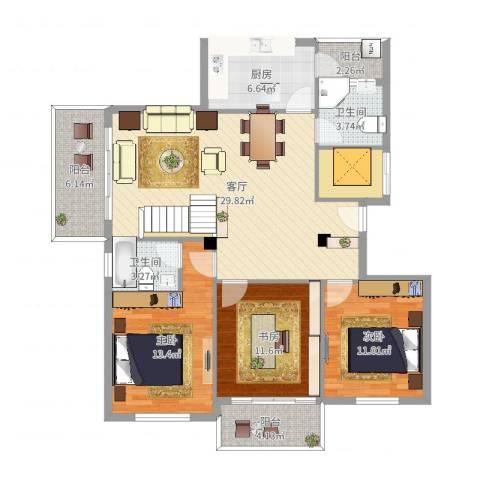 龙庭花苑3室1厅2卫1厨121.00㎡户型图