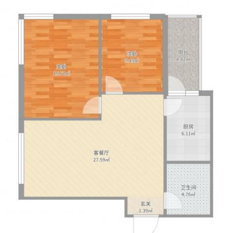 运华广场(江北)2室2厅1卫1厨86.00㎡户型图