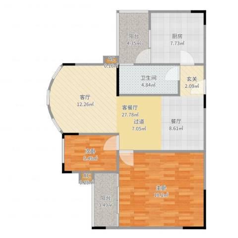 金科丽苑2室2厅1卫1厨90.00㎡户型图