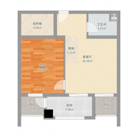 A+5米41室2厅1卫1厨64.00㎡户型图