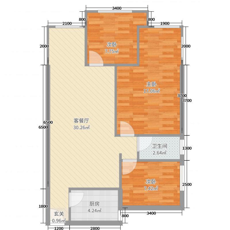 锦绣尚城85.88㎡3-1-1E户型3室3厅1卫1厨