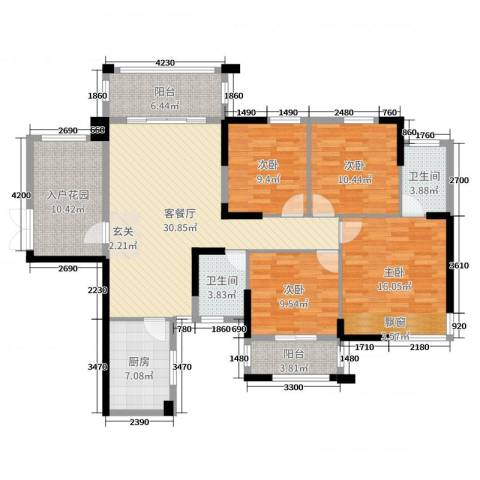 紫鑫御湖湾4室2厅2卫1厨127.00㎡户型图