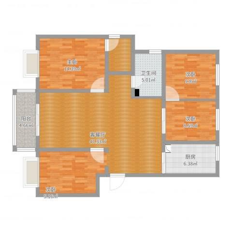 金德花园3室2厅1卫1厨124.00㎡户型图