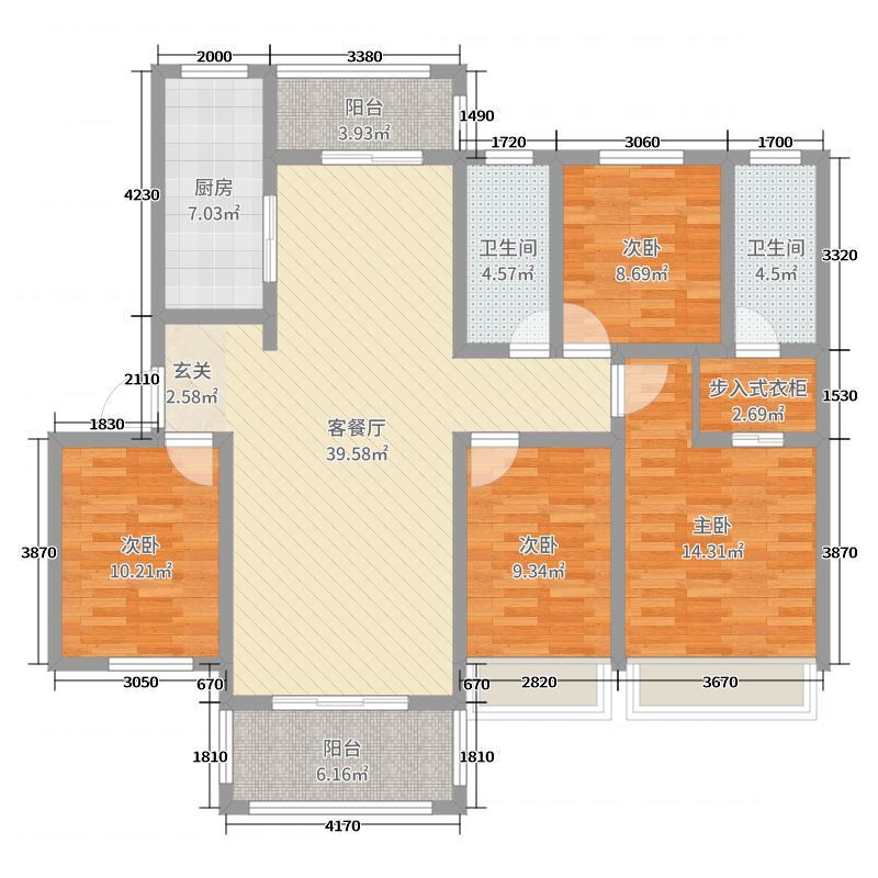 航辰北城国际139.00㎡J2户型4室4厅1卫1厨