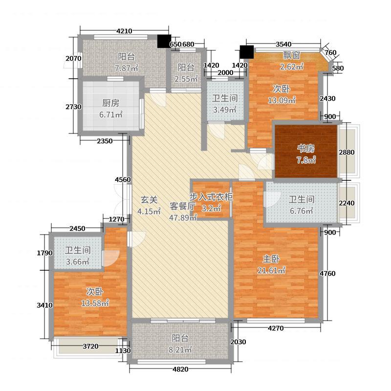 阳光星城185.00㎡E户型4室4厅3卫1厨