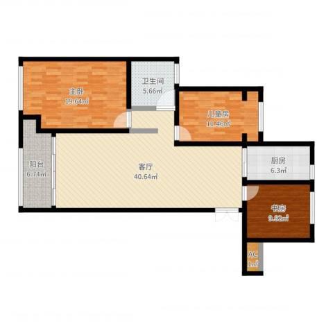 建滔裕景园3室1厅1卫1厨127.00㎡户型图