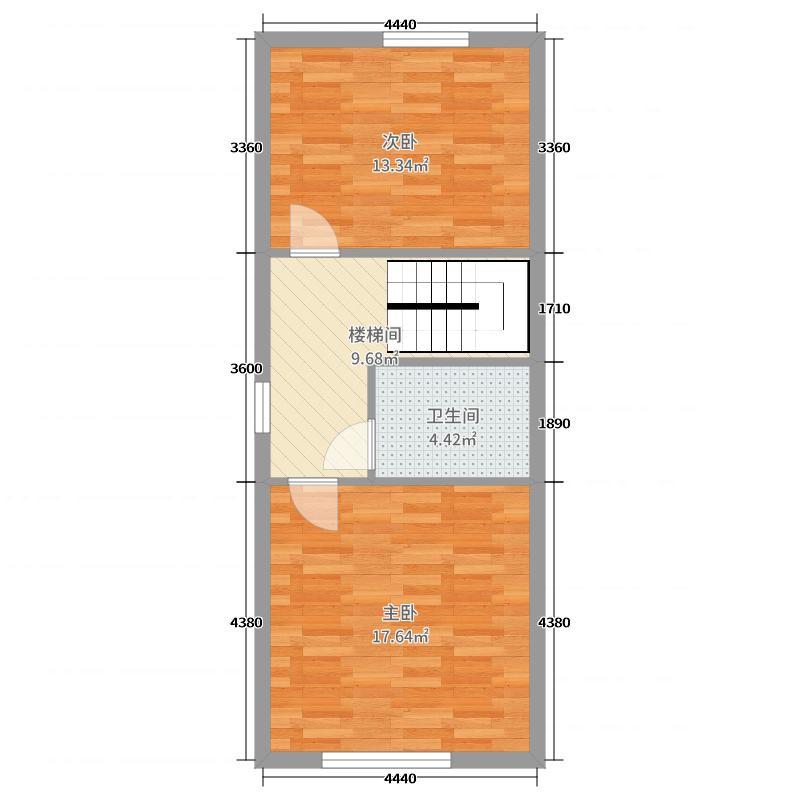 汇金置地广场57.00㎡B6二楼户型2室2厅2卫1厨