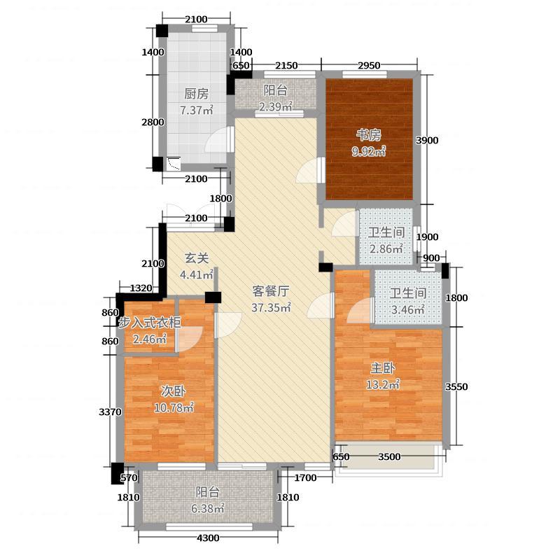 丽江半岛115.52㎡洋房P户型3室3厅2卫1厨