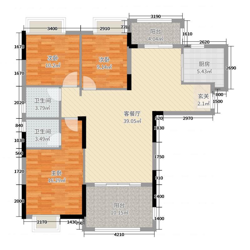 御庭湾125.09㎡B1户型3室3厅2卫1厨