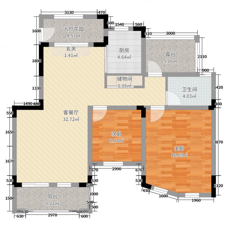 彭州海德花园94.28㎡一期2、6号楼标准层A6-12户型2室2厅1卫1厨