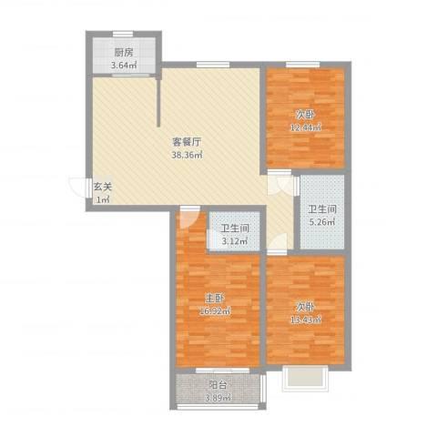 恒顺世纪中心3室2厅2卫1厨121.00㎡户型图