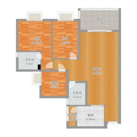 龙凤呈祥3室2厅2卫1厨129.00㎡户型图