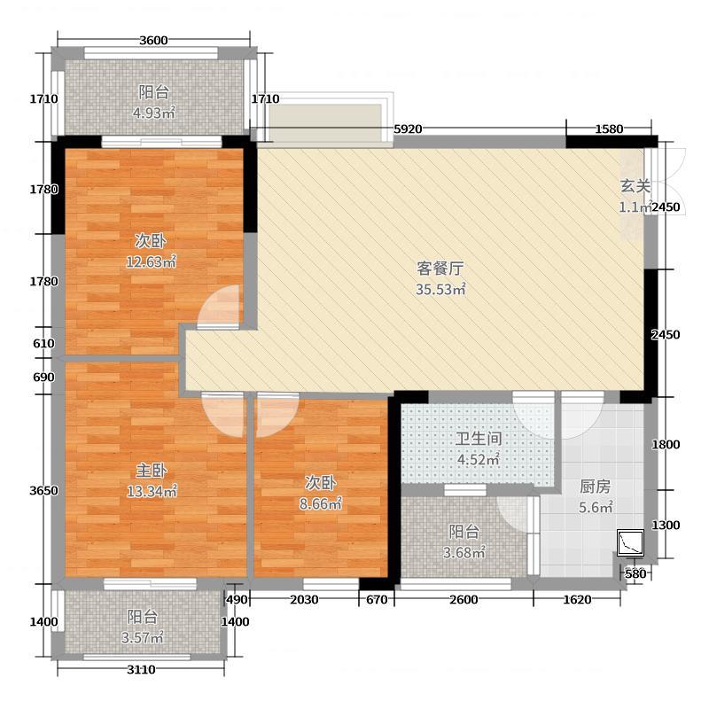 富御大楼113.54㎡2号楼B2型标准层户型3室3厅1卫1厨