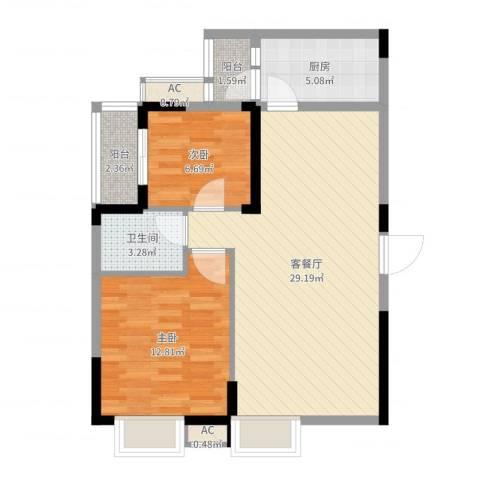 金碧文苑2室2厅1卫1厨78.00㎡户型图