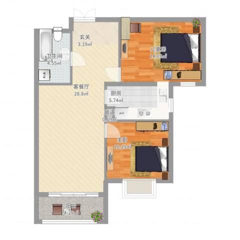 北京御园2室2厅1卫1厨95.00㎡户型图