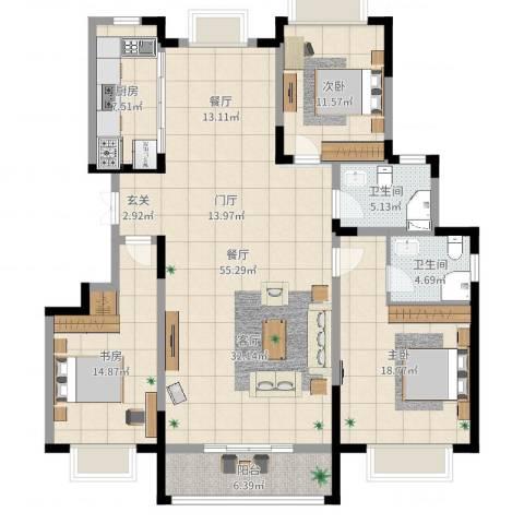 康和西岸3室1厅2卫1厨155.00㎡户型图
