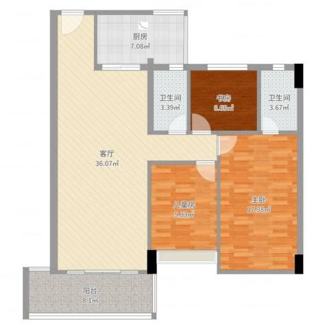 盈彩美地3室1厅2卫1厨115.00㎡户型图