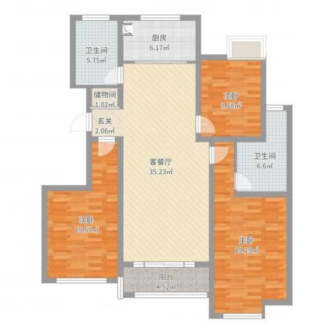万和华府3室2厅2卫1厨130.00㎡户型图