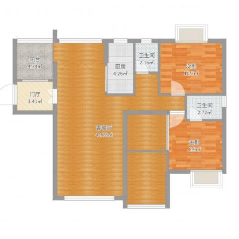 颐和山庄2室2厅2卫1厨103.00㎡户型图