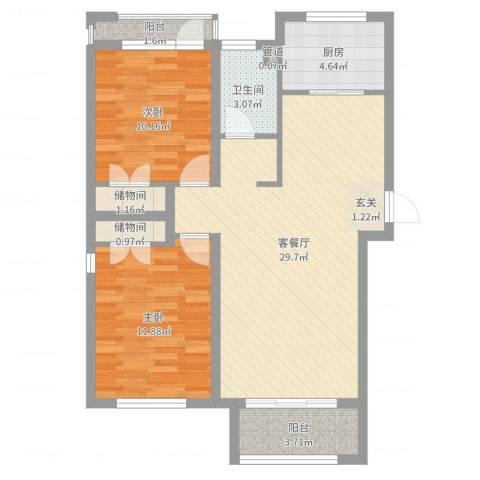 东方花城2室2厅1卫1厨84.00㎡户型图