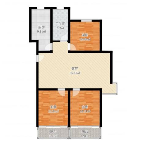 欧美世纪花园3室1厅1卫1厨121.00㎡户型图