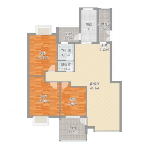 公园华府3室2厅1卫1厨131.00㎡户型图
