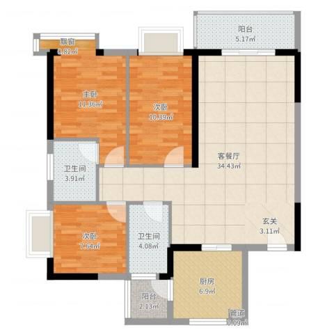 海志公园道一号3室2厅2卫1厨108.00㎡户型图
