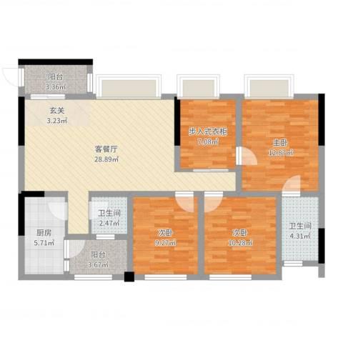 保利锦湖林语3室2厅2卫1厨110.00㎡户型图