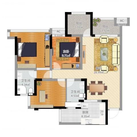 保利锦湖林语1室1厅2卫1厨111.00㎡户型图