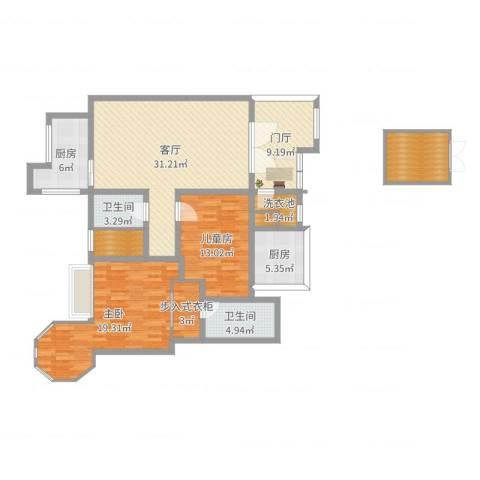 九鼎・御江山2室1厅2卫2厨133.00㎡户型图