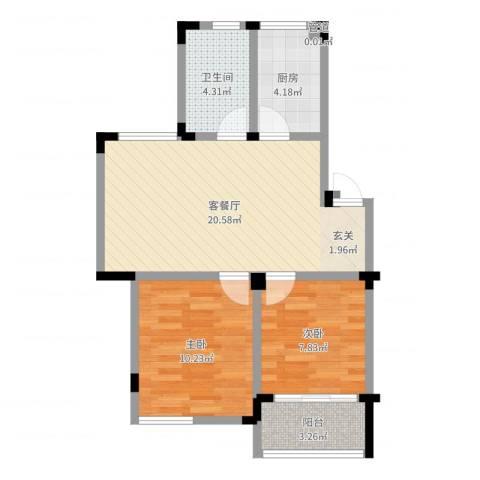 新安苑2室2厅1卫1厨50.39㎡户型图