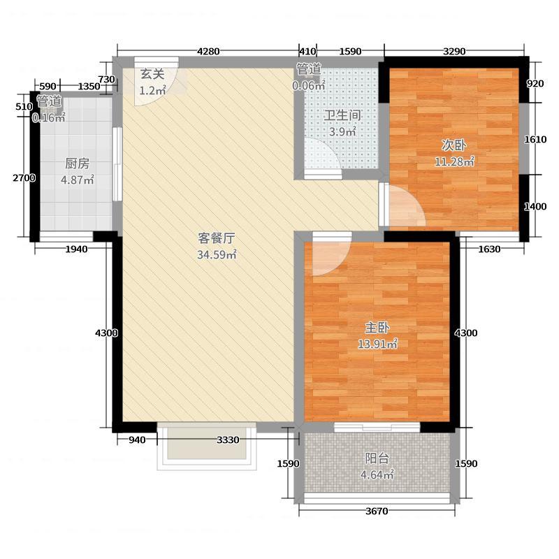 东方红五号街坊91.90㎡2-2中户户型3室3厅1卫1厨
