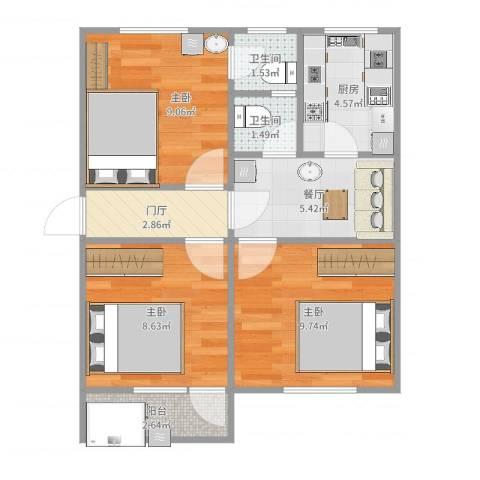 屿后北里3室1厅2卫1厨57.00㎡户型图