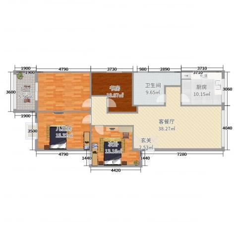 空军世纪花园13室2厅1卫1厨119.05㎡户型图