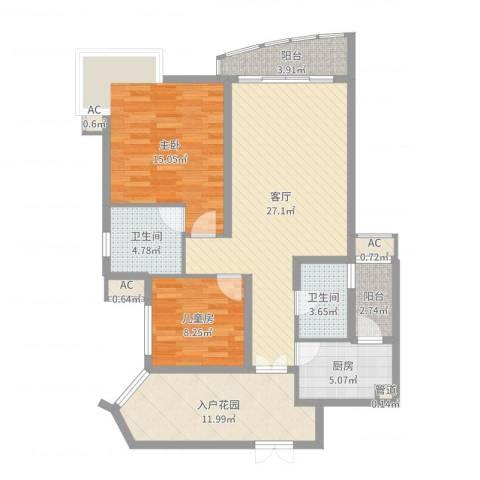 盛世华南2室1厅2卫1厨106.00㎡户型图