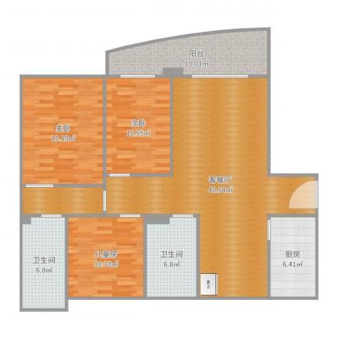 南都御景3室2厅2卫1厨139.00㎡户型图