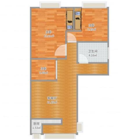 东坪山庄3室2厅1卫1厨65.00㎡户型图